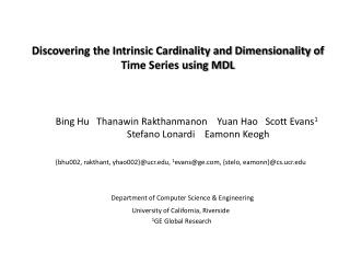 Discovering the Intrinsic Cardinality and Dimensionality of Time Series using MDL