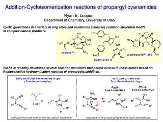 Addition- Cycloisomerization  reactions of  propargyl cyanamides