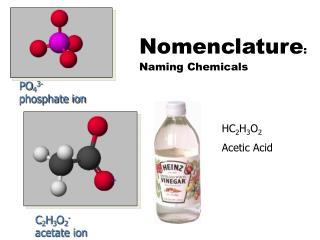 Nomenclature : Naming Chemicals