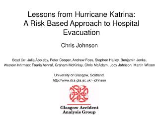 Lessons from Hurricane Katrina: A Risk Based Approach to Hospital Evacuation