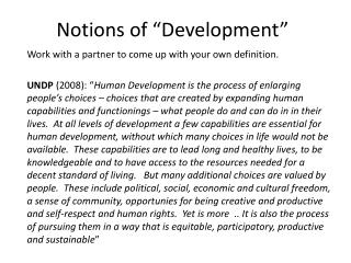 "Notions of ""Development"""