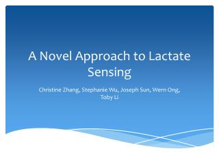 A Novel Approach to Lactate Sensing