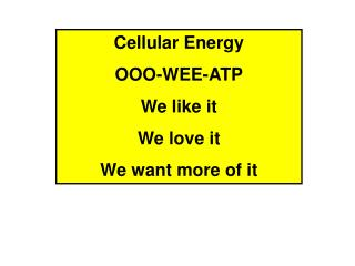 Cellular Energy OOO-WEE-ATP We like it We love it We want more of it