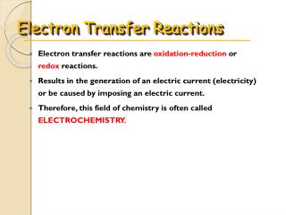 Electron Transfer Reactions