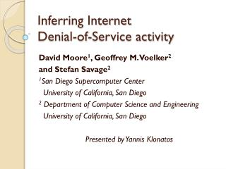 Inferring Internet  Denial-of-Service activity