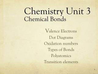 Chemistry Unit 3 Chemical Bonds