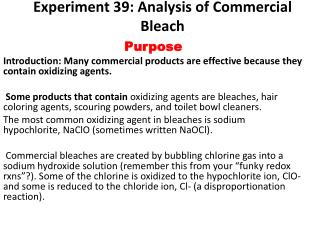 Experiment  39: Analysis of Commercial Bleach