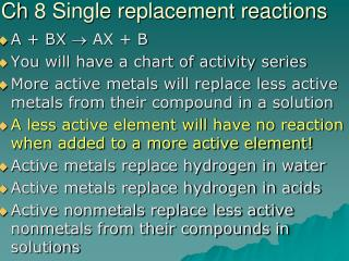 Ch  8 Single replacement reactions