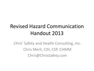 Revised Hazard Communication Handout 2013
