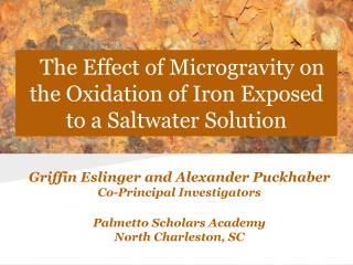 The Effect of Microgravity on the Oxidation of Iron Exposed to a Saltwater Solution