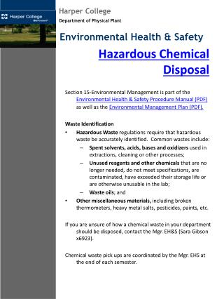 Hazardous Chemical Disposal