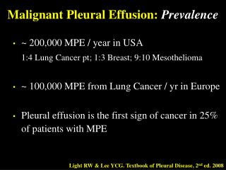Malignant Pleural Effusion:  Prevalence