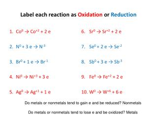 Label each reaction as  Oxidation  or  Reduction