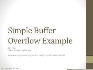 Simple Buffer  Overflow Example