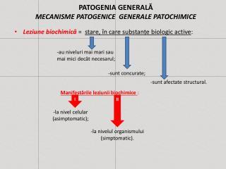 PATOGENIA GENERALĂ  MECANISME PATOGENICE  GENERALE PATOCHIMICE