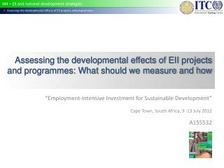"""""""Employment-Intensive Investment for Sustainable Development"""""""