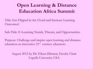 Open Learning & Distance Education Africa  Summit