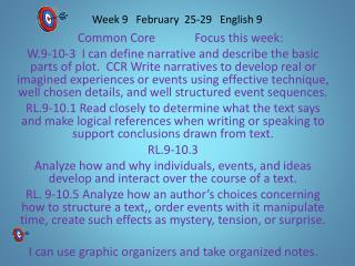 Week 9    February   25-29   English 9
