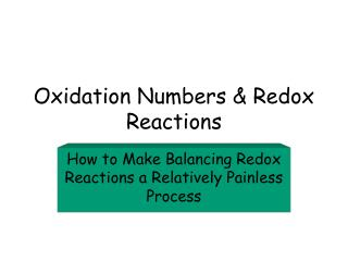 Oxidation Numbers & Redox Reactions