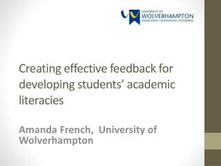 Creating effective feedback for developing students' academic literacies