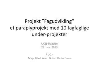"""Projekt """"Fagudvikling""""  et paraplyprojekt med 10 fagfaglige under-projekter"""