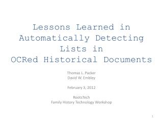 Lessons Learned in  Automatically Detecting Lists in  OCRed Historical Documents
