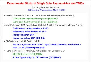 Experimental Study of  Single  Spin Asymmetries and TMDs