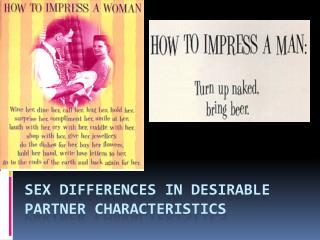 Sex Differences in Desirable Partner Characteristics