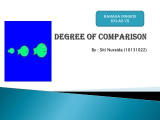 Degree of Comparison By : Siti Nuraida (10131022)