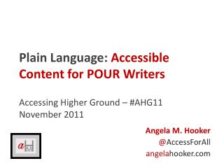 Plain Language: Accessible Content for POUR Writers