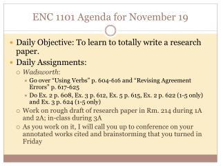 ENC 1101 Agenda for November  19