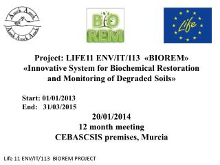 Life 11 ENV/IT/113  BIOREM PROJECT