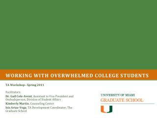 Working with overwhelmed college students