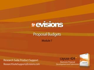 Proposal Budgets