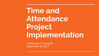 Timekeeper Training