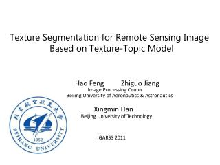 Texture Segmentation for Remote Sensing Image  Based on Texture-Topic Model