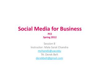 Social Media for Business PCE Spring 2012