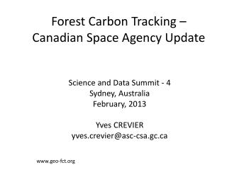 Forest Carbon Tracking – Canadian Space Agency Update