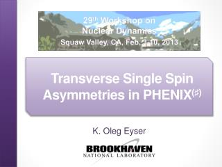 Transverse Single Spin Asymmetries in PHENIX (♯)