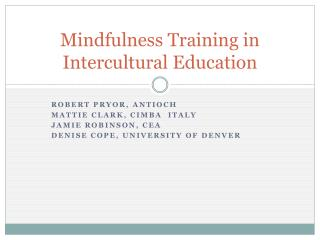 Mindfulness Training in Intercultural Education