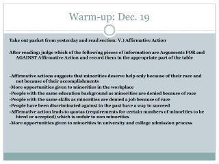Warm-up: Dec.  19
