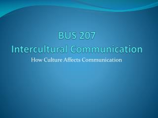 BUS 207 Intercultural Communication