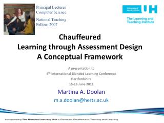 Chauffeured  Learning through Assessment Design  A Conceptual Framework