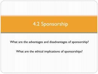 4.2 Sponsorship