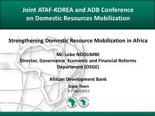 Joint ATAF-KOREA and ADB Conference on Domestic Resources Mobilization