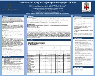 Traumatic brain injury and psychogenic  nonepileptic  seizures