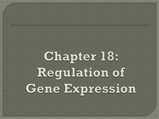 Chapter 18: Regulation of Gene Expression