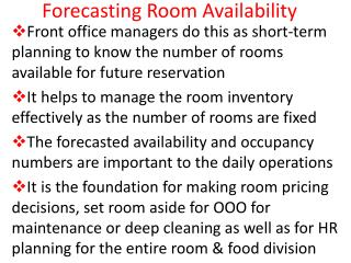 Forecasting Room Availability