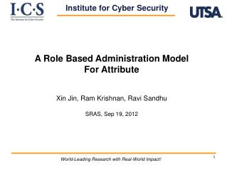 A Role Based Administration Model  For Attribute Xin Jin , Ram Krishnan, Ravi  Sandhu