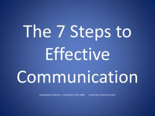 The 7 Steps to Effective Communication